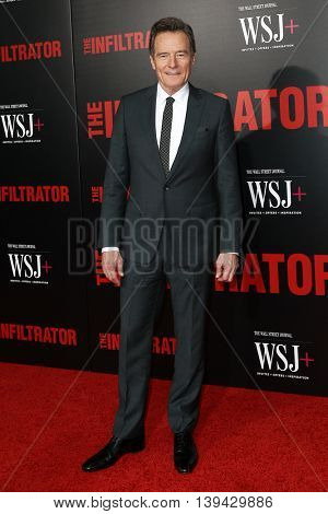 NEW YORK-JULY 11: Actor Bryan Cranston attends 'The Infiltrator' New York premiere at AMC Loews Lincoln Square 13 Theater on July 11, 2016 in New York City.