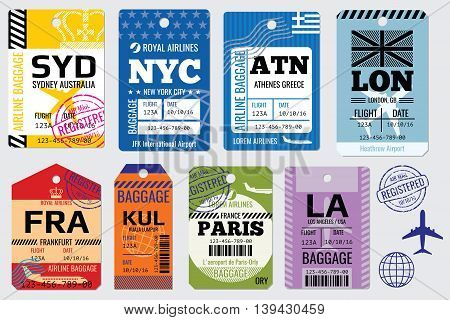 Retro baggage tags and travel tags vector stock. Illustration set of tag for baggage