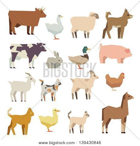 Pets and farm animals vector flat icons set. Polygonal animal hen and cattle, lamb and duck, illustration figure colored farm animal