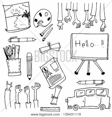 Doodle of school education stock vector art