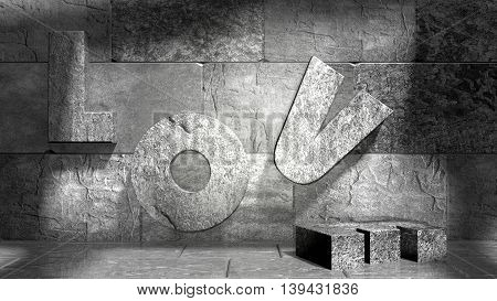 background relative to valentines day. Love text on wall in empty concrete room. 3D rendering