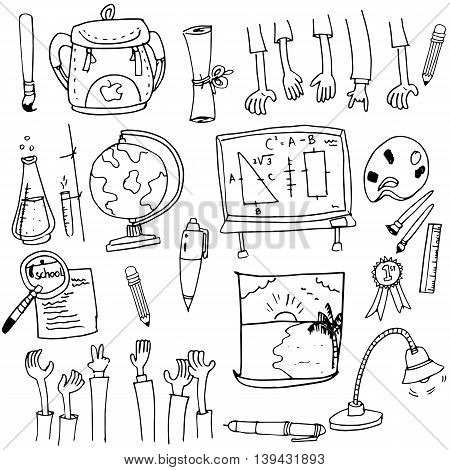 School object collection stock in doodle vector art