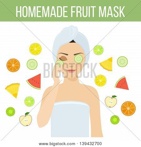 Girl applies natural homemade fruit mask on her face. Skin problems solution home remedies. Vector stock illustration.