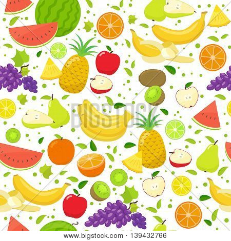 Seamless pattern of colorful cartoon fruits on a white background. Vector stock illustration.