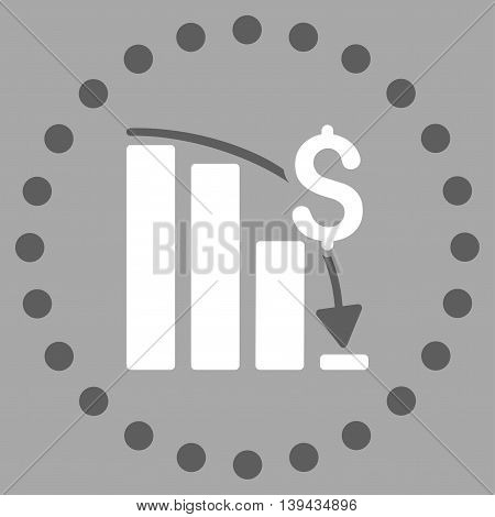 Financial Crisis vector icon. Style is bicolor flat circled symbol, dark gray and white colors, rounded angles, silver background.