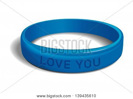 Blue plastic wristband with the inscription - LOVE YOU. Friendship band isolated on white background. Realistic vector illustration for International Friendship Day