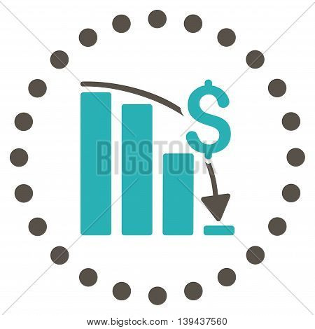 Financial Crisis vector icon. Style is bicolor flat circled symbol, grey and cyan colors, rounded angles, white background.