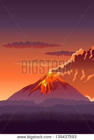 Vector illustration of a volcano erupting, erupting mountain