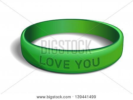 Green plastic wristband with the inscription - LOVE YOU. Friendship band isolated on white background. Realistic vector illustration for International Friendship Day