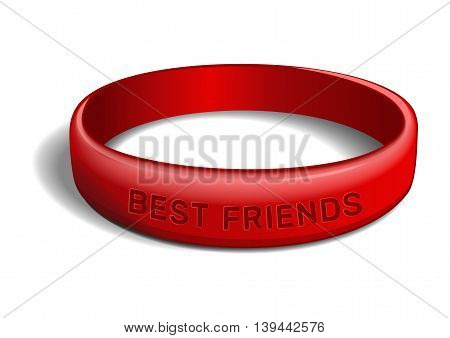 Red plastic wristband with the inscription - BEST FRIENDS. Friendship band isolated on white background. Realistic vector illustration for International Friendship Day