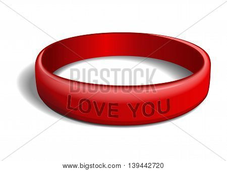 Red plastic wristband with the inscription - LOVE YOU. Friendship band isolated on white background. Realistic vector illustration for International Friendship Day