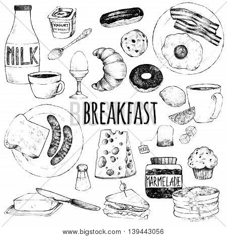 Vector doodle set. Breakfast. Scrambled eggs bacon croissant donut yogurt milk bread sausages cheese butter sandwich pancakes muffins jam tea coffee eclairs lemon salt. Hand drawing.