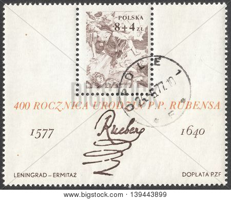 MOSCOW RUSSIA - CIRCA JANUARY 2016: a post stamp printed in POLAND shows a signature of artist Peter Paul Rubens devoted to the 400th Anniversary of the Birth of Peter Paul Rubens circa 1977