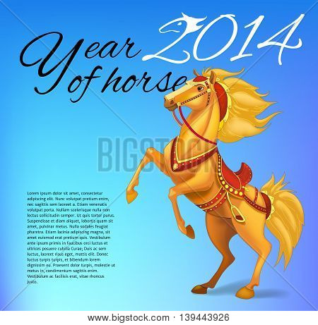 Happy New Year Card for 2014 year of Horse. Vector illustration.