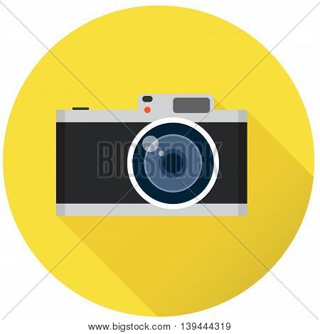 Reto photo camera on yellow background and long shadow, flat vector illustration