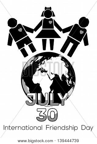 Friendship Day black and white logo icon. 30 July - International Friendship Day. Vector illustration