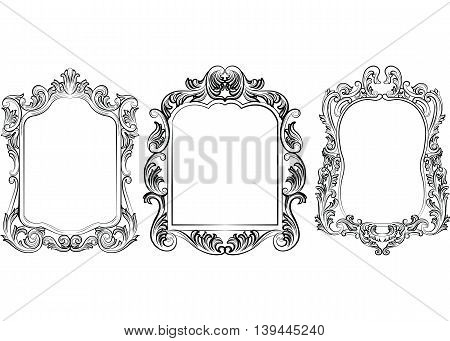 Set of Baroque Vintage Decoration Frames. Victorian Royal Rich Ornaments and Frames. Retro Style Collection for Cards Invitations Banner Poster Badges Logotypes Photos Placards