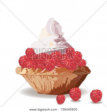 Tart cake with raspberry and cream. Vector Delicious realistic illustration