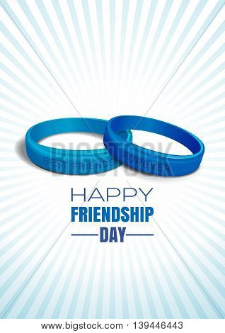 Blue wristbands with text BEST FRIENDS and FOREVER on blue retro background on occasion of Happy Friendship Day celebrations. Vector illustration