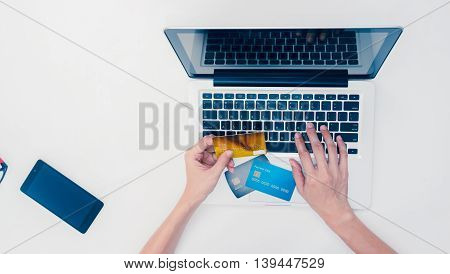 The Online Shopping Card And Holding Credit Card With Hand For Payment Online Shopping, This Lifesty