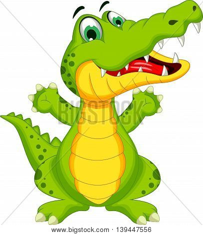 funny crocodile cartoon posing for you design