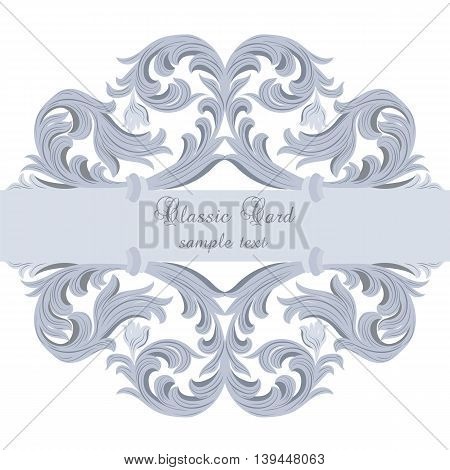 Vector Vintage Baroque card. Vector Ornamental frame. Elegant Baroque Style border frame engraved with Rococo ornament. Decorative frame border cover. Serenity color ornament