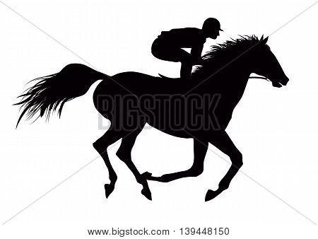 Vector illustration of jockey on running black horse