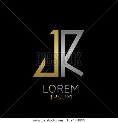 Golden J and silver R letters logo template for your business company