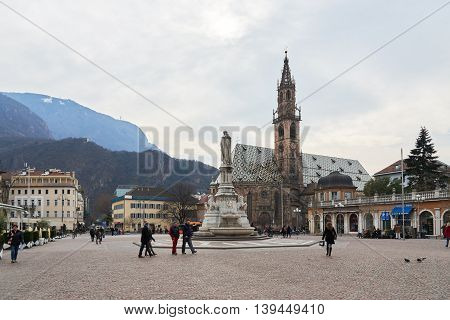Bolzano Italy - February 22 2016: Bolzano Cathedral. It is Bolzano's chief landmark and a gem of Romanesque and Gothic architecture a symbol of the meeting of southern and northern influences.