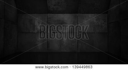 A very dark metal room with reflective floor