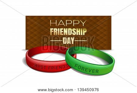 International Friendship Day design. Red and green wristbands with text