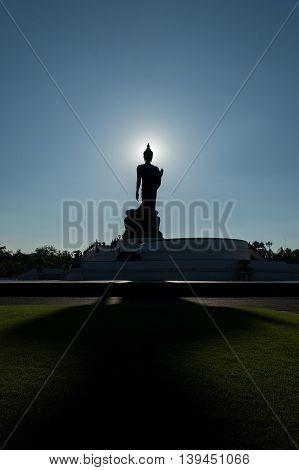 Silhouette Buddha Statue at Phutthamonthon Phutthamonthon Road line 4 Salaya Nakhon Pathom.
