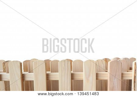 wood fence with copy space on top isolated and white background.