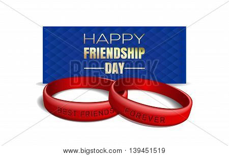 International Friendship Day design. Red wristbands with text