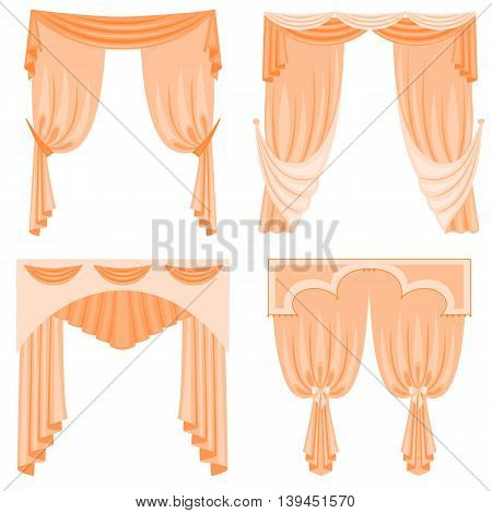 A set of curtains isolated on white background. Vector illustration. Collection of window curtains in various designs for interior.