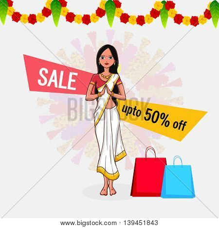Onam Special Offer Sale with Upto 50% Off, Illustration of young girl in Indian Welcome gesture (Namaste) and Shopping bags on beautiful flowers decorated background.