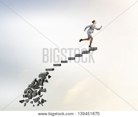 Making risky steps .  Mixed media