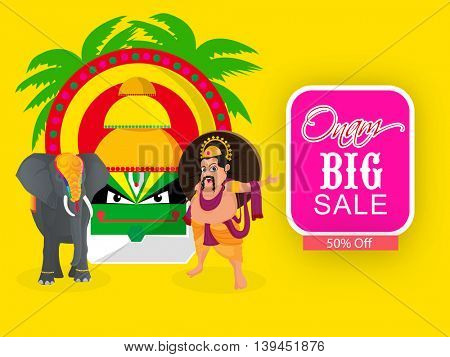 Onam Big Sale with 50% Off, Creative illustration of Kathakali Dancer Face, King Mahabali and Decorated Elephant on yellow background.