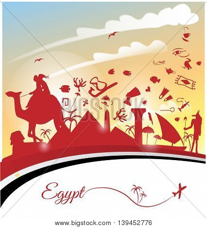 egypt background with flag and symbol set