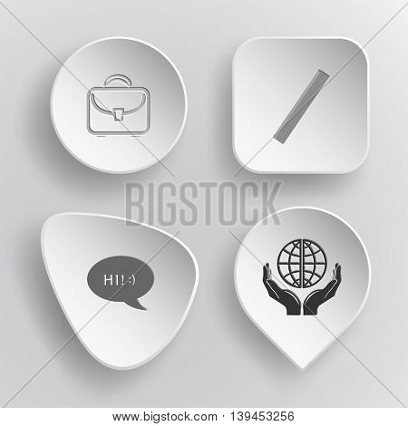 4 images: briefcase, ruler, chat symbol, protection world. Education set. White concave buttons on gray background. Vector icons.