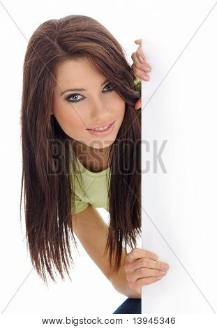 beautiful sexy Girl holding Emply weiß-board