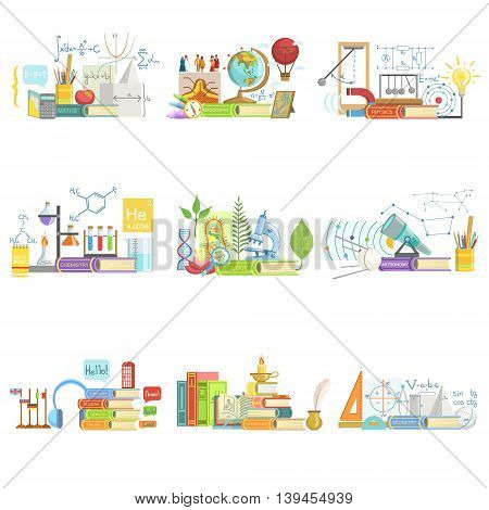Different Sciences Related Objects Composition, Simple Childish Flat Colorful Illustration On White Background