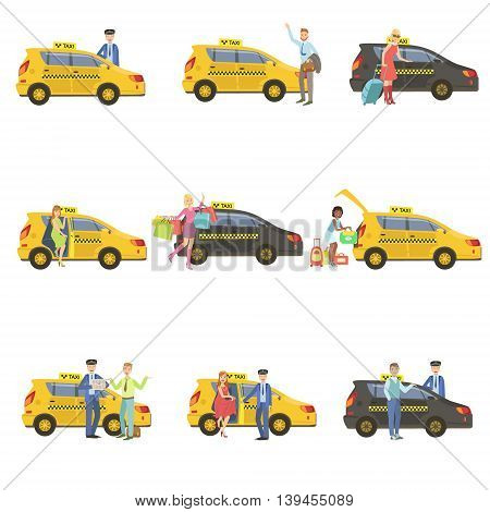 Taxi, Drivers And Their Clients Set Of Simple Childish Flat Colorful Illustrations On White Background