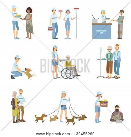 Volunteers Helping In Different Situations Illustrations Isolated On White Background. Simplified Cartoon Characters Set