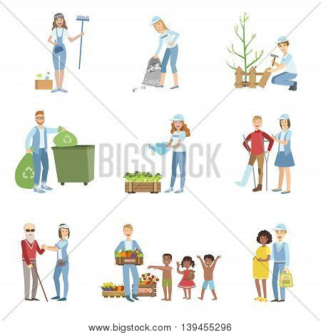 People Volunteers In Different Situations Illustrations Isolated On White Background. Simplified Cartoon Characters Set