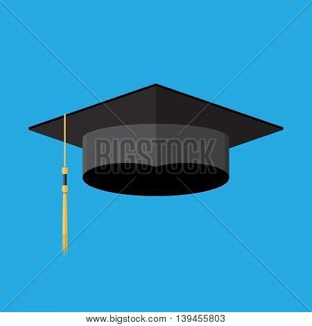 Academic graduation cap. Student hat. vector illustration in flay style