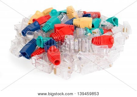 Pack of transparent ethernet RJ45 connectors mixed with rubber covers