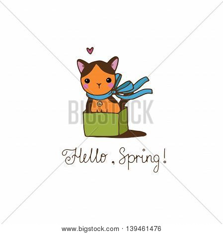 Cute little spotted cat in the box. Hello Spring text. Hand drawing isolated objects on white background. Vector illustration.