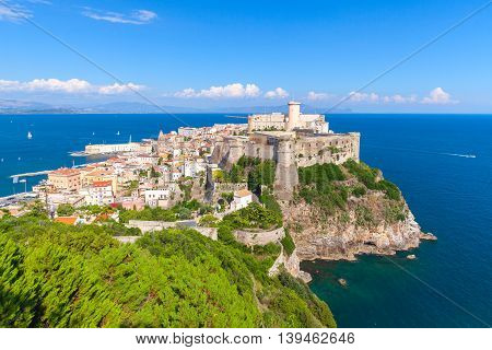 Coastal landscape with old town of Gaeta Italy poster