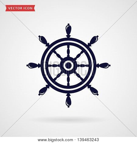 Ship steering wheel icon isolated on white background. Sea travel navigation or direction concept symbol. Vector illustration.